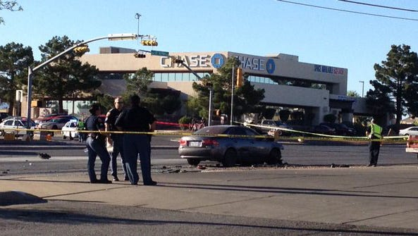 An El Paso police traffic officer was injured in a crash Thursday afternoon on Lee Treviño Drive, authorities said.