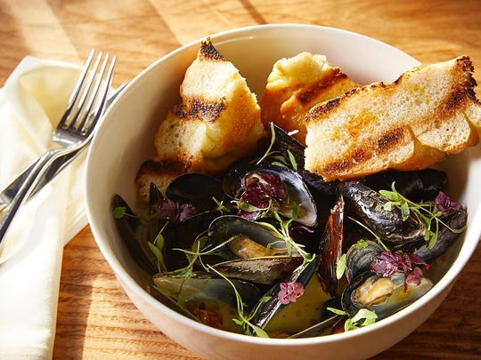 Mussels with coconut curry, scallion and lemongrass focaccia at Hearthside in Collingswood.