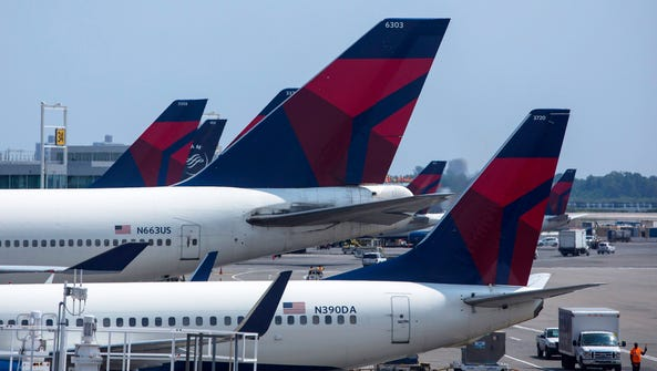 Delta Airlines planes sit at Terminal 4 at John F.