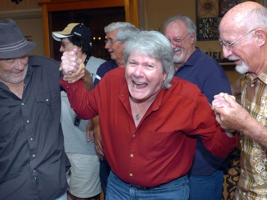 Swamp Pop musician Jay Randall and fans at a meeting of the Save the Southern Club group two years ago.