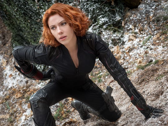 Scarlett Johansson as the Black Widow.