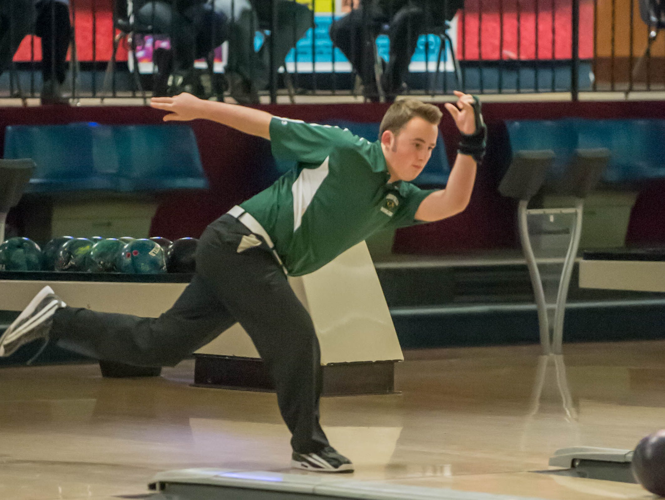 Pennfield junior Max Jasckson during the All-City Bowling Meet at Nottke's on Thursday.