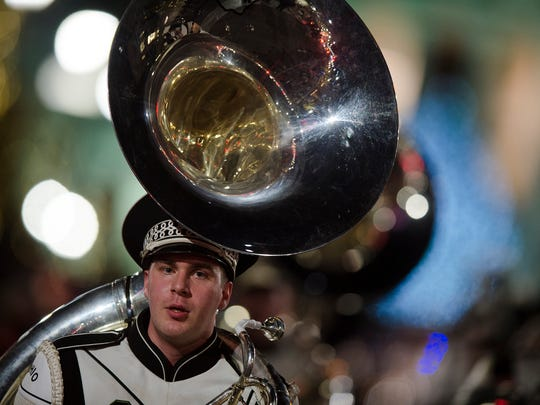 Ohio University band marches during the Montgomery