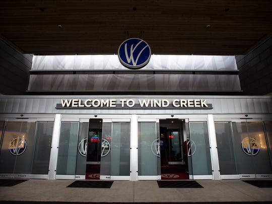 The front doors on opening day of the Wind Creek Montgomery Hotel at Wind Creek Montgomery in Montgomery, Ala., on Monday, Dec. 21, 2015.