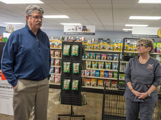 Pete VanVranken and Irena Rees  at The Scoop, a pet health and wellness center, opened last month in Battle Creek.