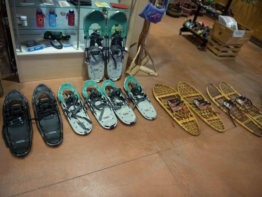 Selection of various snowshoes at Pierce Cedar Creek