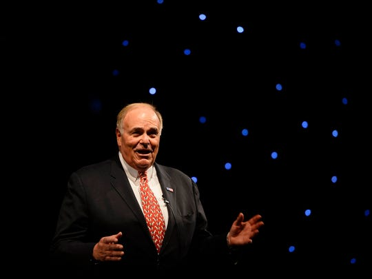 This file photo shows former Gov. Ed Rendell introducing Gov. Tom Wolf during Wolf's inaugural ball at the Hershey Lodge on Tuesday, Jan. 20, 2015.