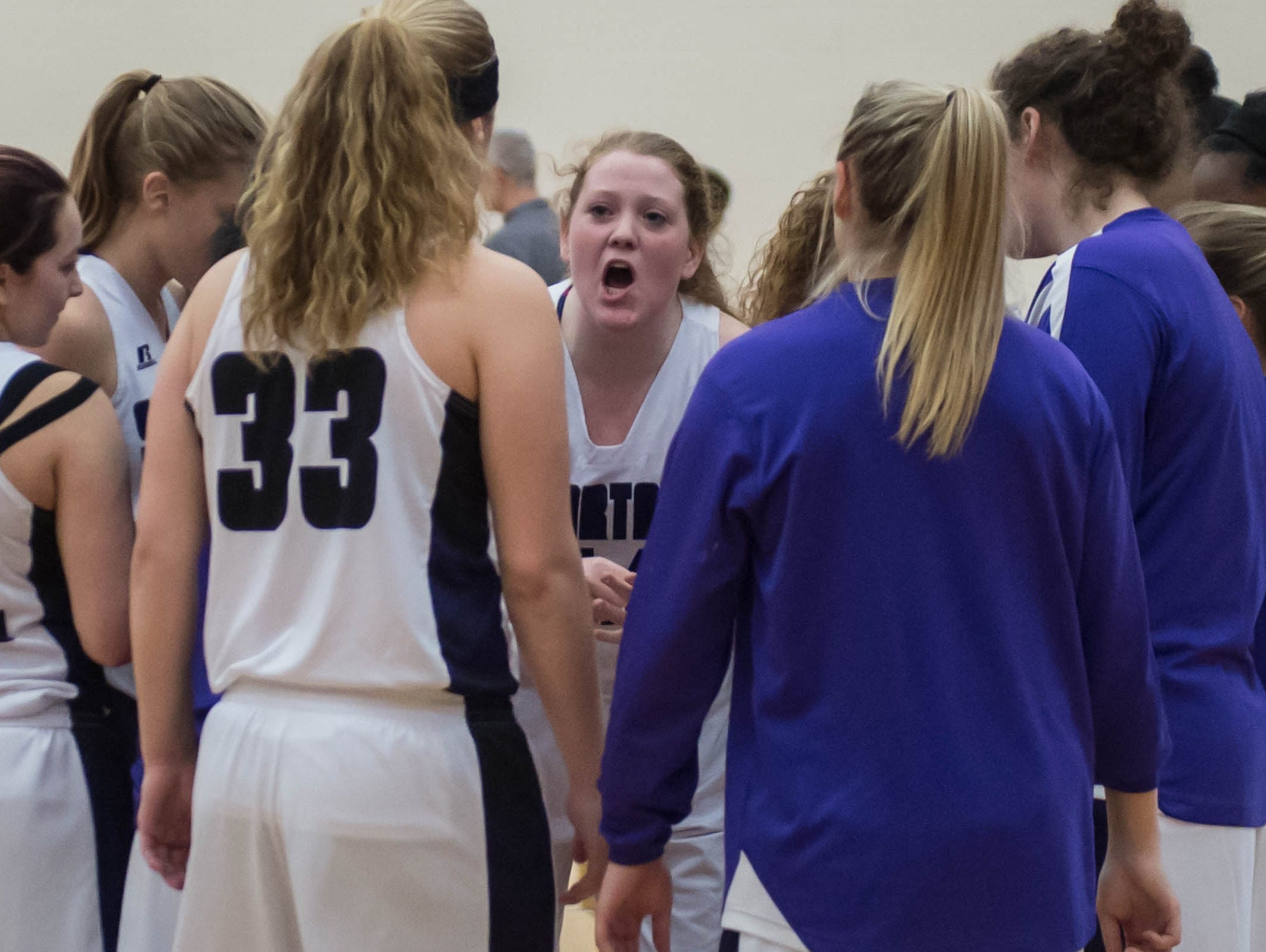 Lakeview's Emily Eldridge fires up here teammates before the game against Gull Lake.