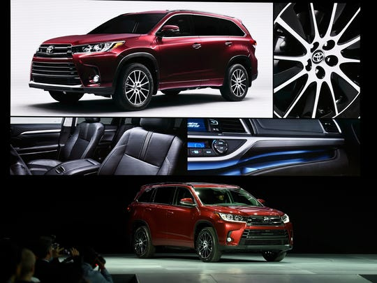The new Toyota Highlander is shown at the New York International Auto Show on March 23, 2016.