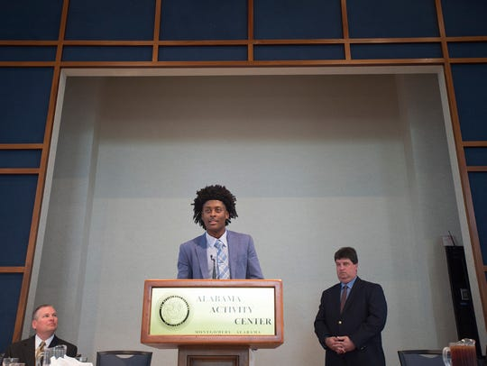 John Petty of J.O. Johnson speaks after receiving the