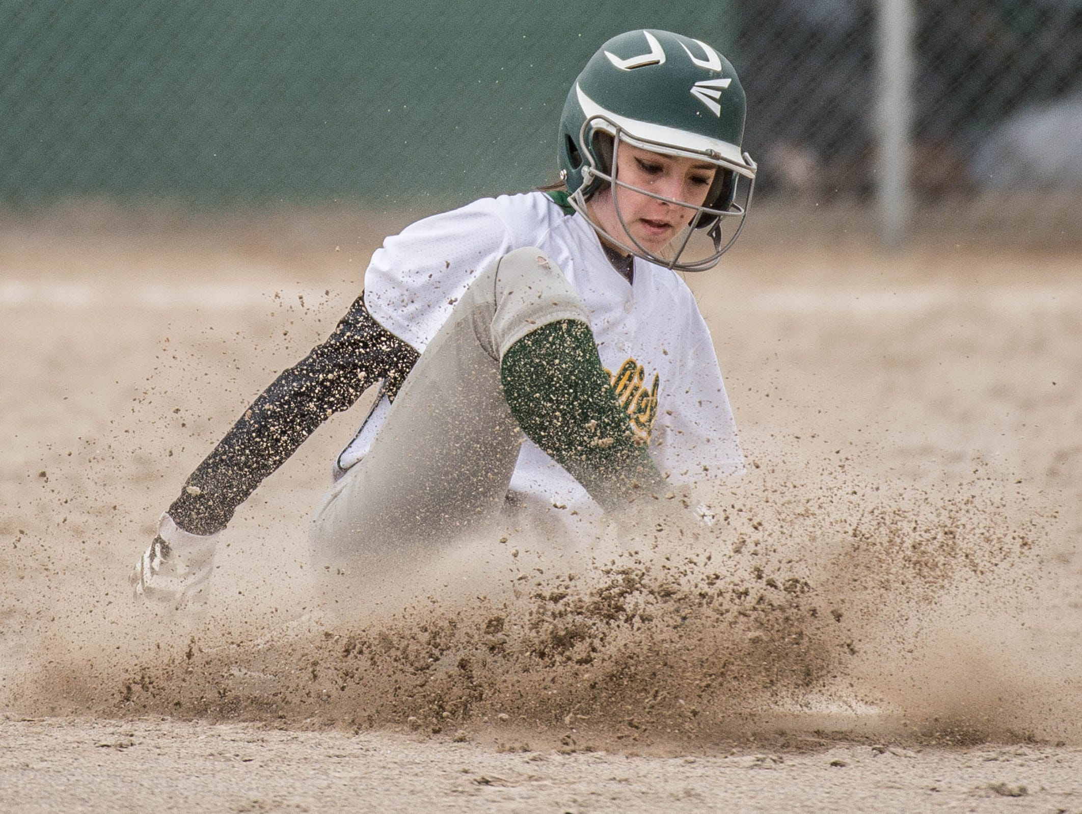 Pennfield's Lexi Purvis (4) slides into second during a recent game against lakeview.