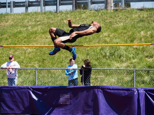 Red Lion's Abdula Best competes in the boys' high jump Saturday at Northern High School during the Arctic Blast Track and Field Invitational.