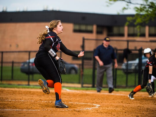 Central York's Rachel Butler pitches against Susquehannock during the YAIAA softball championship at New Oxford High School earlier this month.