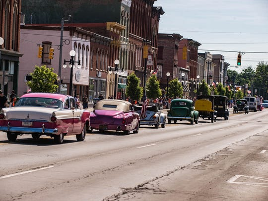 Antique cars during the Marshall Memorial Day Parade.