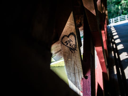 Messages have typically covered the sides of Sachs Covered Bridge over the years but Cumberland Township Police are investigating recent spray paint vandalism on the floor of the bridge.