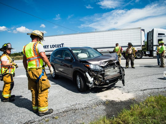 Firefighters responded to a two-vehicle crash on Route 15 Friday afternoon. One person was transported from the scene with injuries.