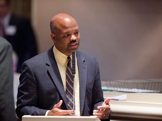Chris England, D-Tuscaloosa, speaks about the Alabama Lottery Bill during the legislative special session on Tuesday, August 23, 2016, at the State House in Montgomery, Ala.