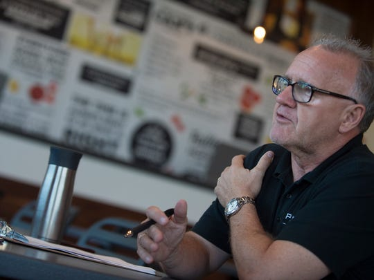 Chuck McAulay, Pieology Marketing director, speaks during a media event at the store on Wednesday, Sept. 7, 2016, in Montgomery, Ala. The store is scheduled to open on Sept. 8, 2016.