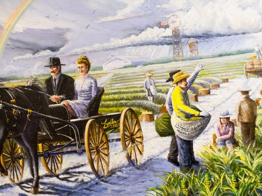 "A close up photograph of art depicts a scene from one of Jarrett Stinchcomb's paintings featured at the Marco Island Historical Museum in Marco Island, Fla., on Wednesday, Nov. 2, 2016. The Marco Island Historical Society will present a dramatic permanent outdoor gallery called ""Windows & Doors to History"" at the Marco Island Historical Museum starting with a preview on Nov. 10, 2016."