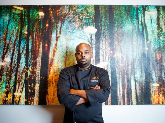 "Chef Gerald Sombright stands in Ario in the Marco Island Marriott Beach Resort in Marco Island, Fla., on Tuesday, Nov. 8, 2016. Sombright (Chef de Cuisine at Ario) will appear on the upcoming season of the Emmy-winning Bravo hit, ""Top Chef."""