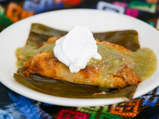 Salsa verde and sour cream dress a Guatemalan-style