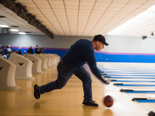 Rick Davis of Hanover competes in a bowling game with