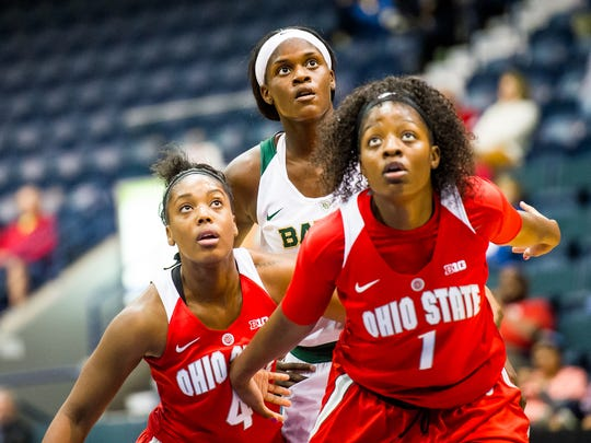 Baylor University's Kalani Brown gets pushed back as Ohio's Sierra Calhoun(4) and Stephanie Mavunga(1) try to grab a rebound during the basketball championship against Ohio State University in the Gulf Coast Showcase at Germain Areana in Estero, Fla., on Sunday, Nov. 27, 2016.
