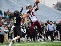Shippensburg's Cody Gustafson (18) catches a pass during the District 3 Class 4A Championship. Gustafson etched his named in the Greyhound record book this season, and he is the Public Opinion Football Player of the Year.