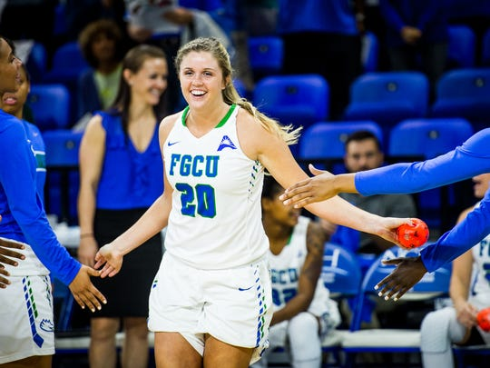 Florida Gulf Coast University's Haley Laughter is introducted during a game against North Carolina A&T at Alico Arena in Fort Myers, Fla., on Wednesday, Dec. 14, 2016.