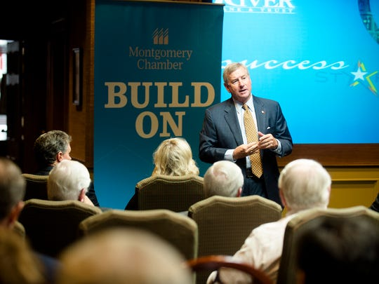 Montgomery Mayor Todd Strange speaks at a Montgomery