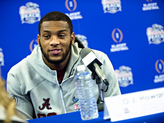 Alabama tight end O.J. Howard (88) speaks to the media during the Peach Bowl Media Day event at the Georgia Dome in Atlanta, Ga., on Thursday, Dec. 29, 2016.
