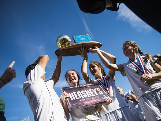 Fairfield celebrates with the PIAA Class 1A girls soccer