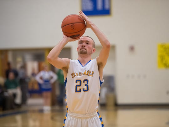 Forbes Road's Owen Gilbert (23) shoots a free throw