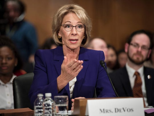 Betsy DeVos, President Donald Trump's nominee for Secretary of Education. Both Senators Chris Coons and Tom Carper oppose her confirmation.
