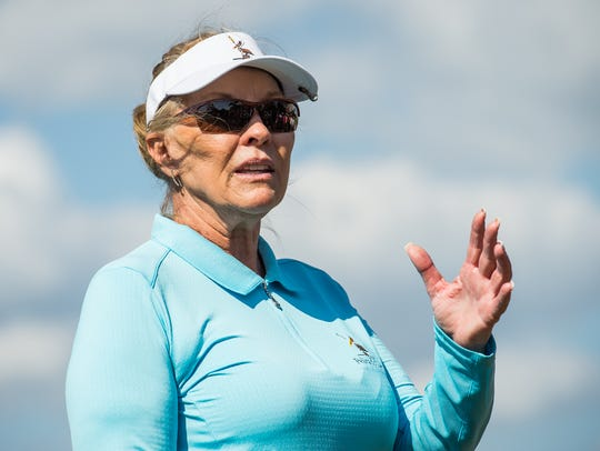 Former LPGA Tour star Jan Stephenson shown here conducting a clinic at Pelican's Nest Golf Club in Bonita Springs in 2017, and returned to do so again Thursday. Stephenson will be inducted into the World Golf Hall of Fame in June at the U.S. Open at Pebble Beach.