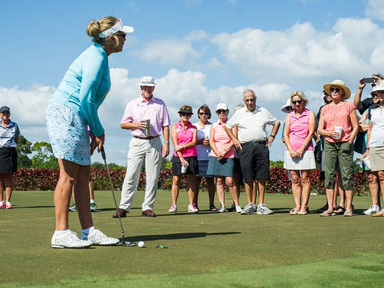 Jan Stephenson, former LPGA Tour star, talks to attendees of a clinic at Pelican's Nest Golf Club in Bonita Springs, Fla., on Friday, Feb. 3, 2017. Stephenson, who is a winner of three major championships who had her first LPGA Tour victory in Naples back in 1976, shared her wisdom with golfers at the Pelican Landing community.