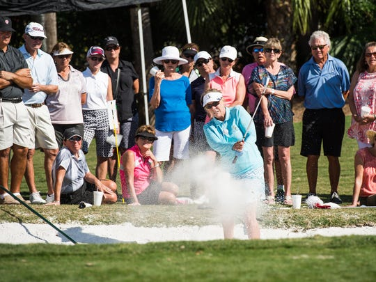 Jan Stephenson, former LPGA Tour star, shows some tricks for getting out of a sand trap to attendees of a clinic at Pelican's Nest Golf Club in Bonita Springs, Fla., on Friday, Feb. 3, 2017. Stephenson, who is a winner of three major championships who had her first LPGA Tour victory in Naples back in 1976, shared her wisdom with golfers at the Pelican Landing community.