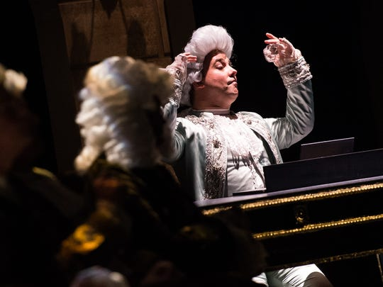 "Adolpho Blaire acts out a scene during a dress rehearsal at the G&L Theatre in Naples, Fla., on Monday, Feb. 6, 2017. TheatreZone is producing ""Amadeus,"" the fictional account of composer Antonio Salieri's rivalry with, undermining his admiration for, another court composer, the iconoclastic, and somewhat crude, Wolfgang Amadeus Mozart."