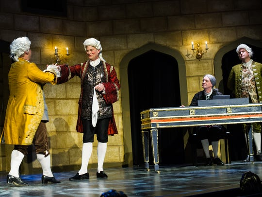 """Cast members act out a scene during a dress rehearsal at the G&L Theatre in Naples, Fla., on Monday, Feb. 6, 2017. TheatreZone is producing """"Amadeus,"""" the fictional account of composer Antonio Salieri's rivalry with, undermining his admiration for, another court composer, the iconoclastic, and somewhat crude, Wolfgang Amadeus Mozart."""