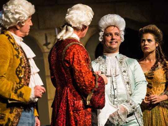 """Cast members Adolpho Blaire (Mozart) and Costanze (Kelly Pekar) during a dress rehearsal at the G&L Theatre in Naples, Fla., on Monday, Feb. 6, 2017. TheatreZone is producing """"Amadeus,"""" the fictional account of composer Antonio Salieri's rivalry with, undermining his admiration for, another court composer, the iconoclastic, and somewhat crude, Wolfgang Amadeus Mozart."""