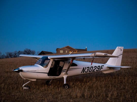"Craig McDonald's Cessna 162 sits in a Codorus Township field Thursday, March 23, 2017. ""This was a perfect emergency landing,"" McDonald said after his Cessna 162 had engine-related problems while he was flying from Lancaster Airport in Lancaster County to Carroll County Regional Airport in Westminster, Md. McDonald reported no injuries and said he would have a mechanic look at the plane the following morning."