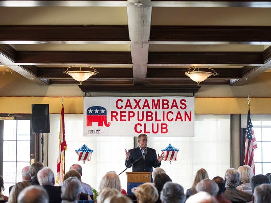 "Former Speaker of the House John Boehner talks to a crowded room at the Marco Island Yacht Club on Marco Island, Fla. on Friday, April 7, 2017. The Marco Island Caxambas Republican Club hosted former Speaker of the House John Boehner for ""an evening of cocktails, hors d'oeuvres and mingling"" at the Marco Island Yacht Club."