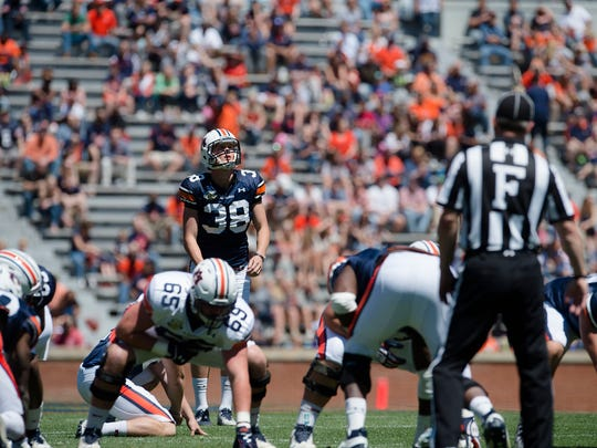 Auburn kicker Daniel Carlson (38) looks to kick a field goal during Auburn's A-Day on Saturday, April 8, 2017, at Jordan Hare Stadium in Auburn, Ala.