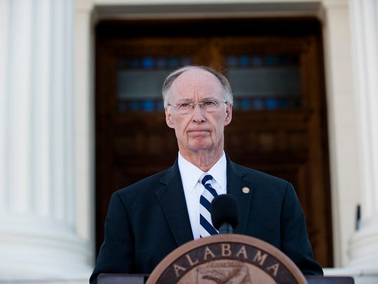 Alabama Governor Robert Bentley speaks during a press conference on Friday, April 7, 2017, outside the Alabama Capitol building in Montgomery, Ala. On Thursday Senator Del Marsh, R-Calhoun, asked for Governor Robert Bentley to resign over ethics issues.