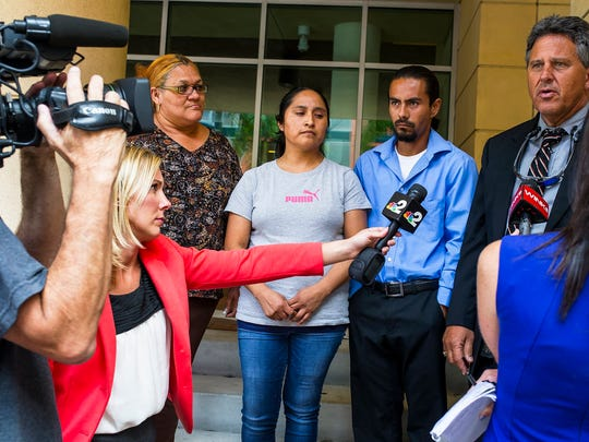 Reporters talk to Rita Hernandez's attorney, Thomas Busatta, after a hearing to suppress evidence in the Jorge Guerrero-Torres' case at the federal courthouse in downtown Fort Myers on Thursday, April 20, 2017. Diana Alvarez, the daughter of Rita Hernandez, has been missing since May 29.