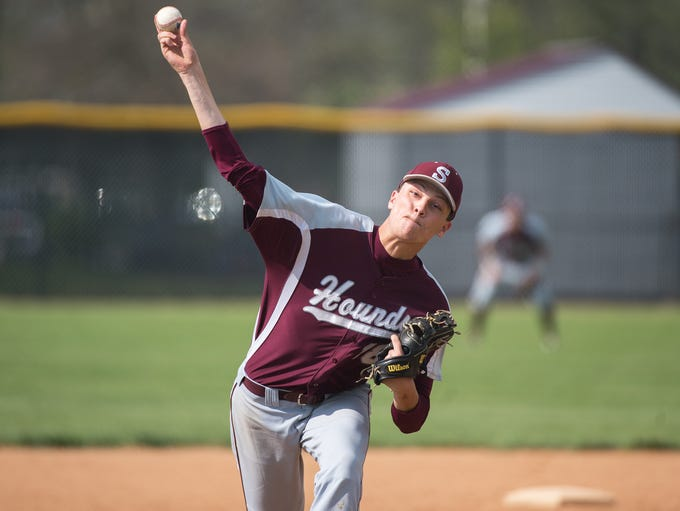 Shippensburg's Kyle Negley pitches during a baseball