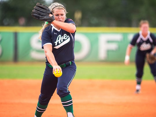 Ave Maria University's Sadie Mosher pitches during a game against Florida Southwestern State in Ave Maria, Fla., on Wednesday, April 19, 2017.