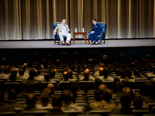 General Chuck Horner speaks during the Gathering of Eagles event at Maxwell Air Force on Tuesday, May 30, 2017, in Montgomery, Ala.
