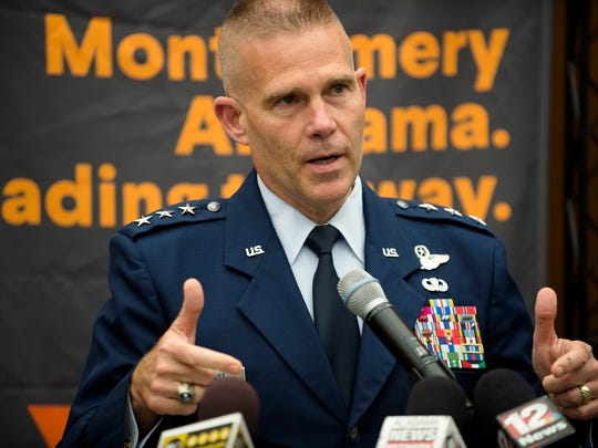 Lt. Gen. Steven Kwast speaks during a press conference on the Montgomery Internet Exchange on Wednesday, June 7, 2017, in Montgomery, Ala.