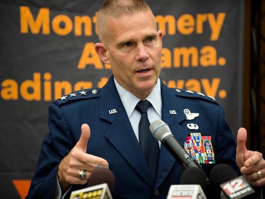 Lt. Gen. Steven Kwast speaks during a press conference